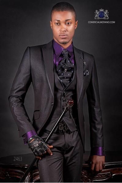 Italian black shiny fashion suit. Peak lapels with satin trims and 1 button.