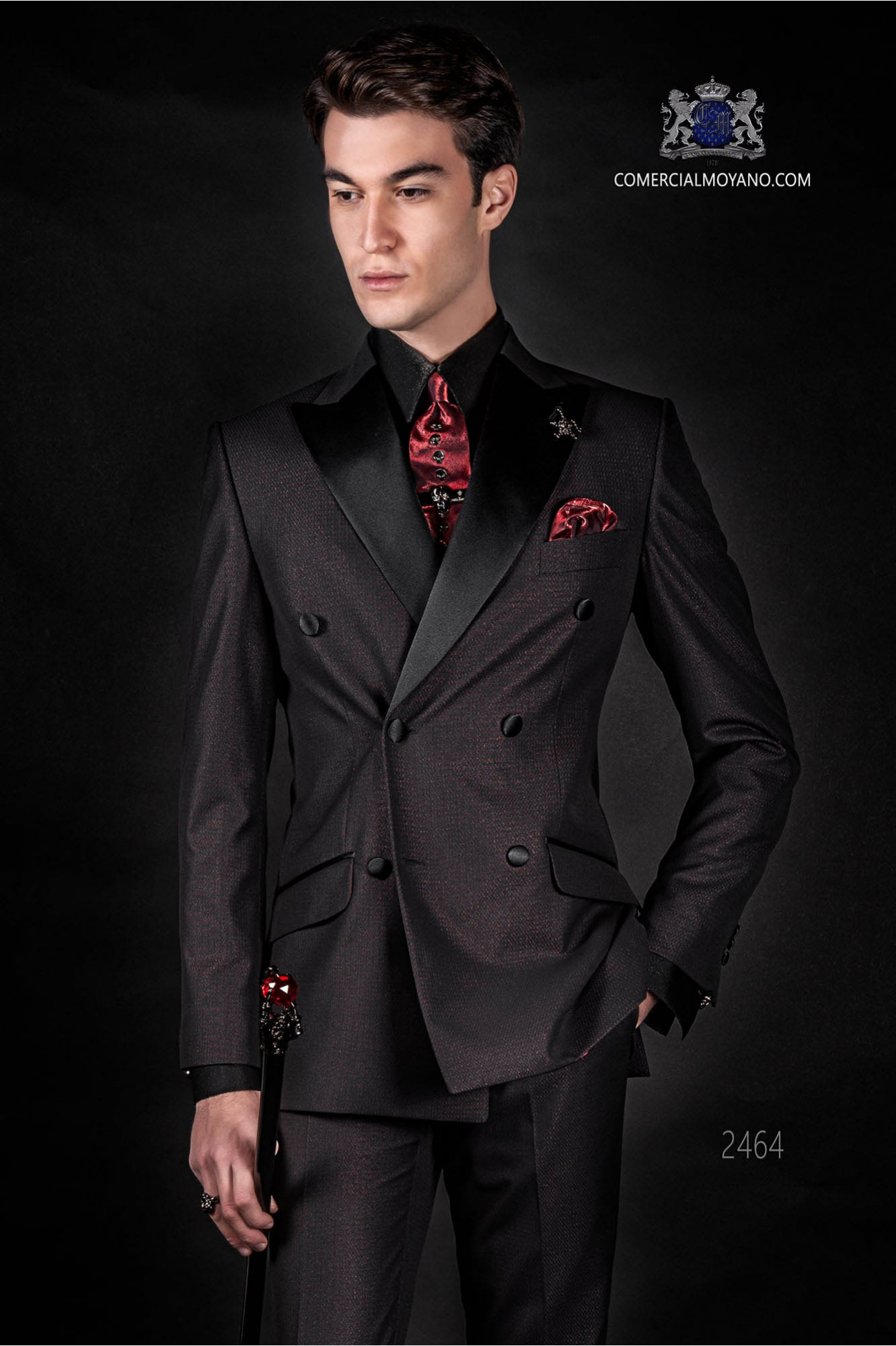 Italian fashion double breasted suit Slim fit. Satin peak lapels and 6 buttons. Shiny red Fabric.