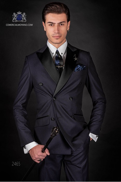Italian blue fashion double breasted suit Slim fit. Satin peak lapels and 6 buttons. Shiny fabric.