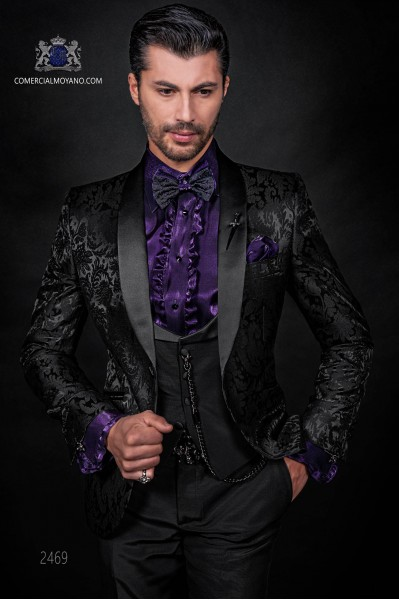 Esmoquin italiano de jacquard negro en mixto seda.