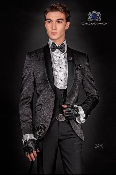 Dinner Jacket en jacquard noir avec pantalons noir de laine