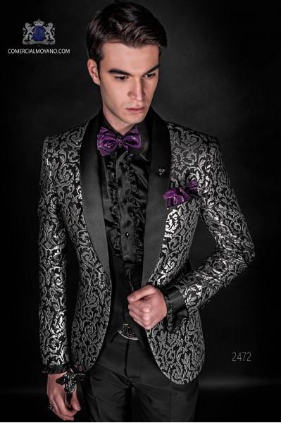 Veste de mode brocade noir et argent avec revers de pointe