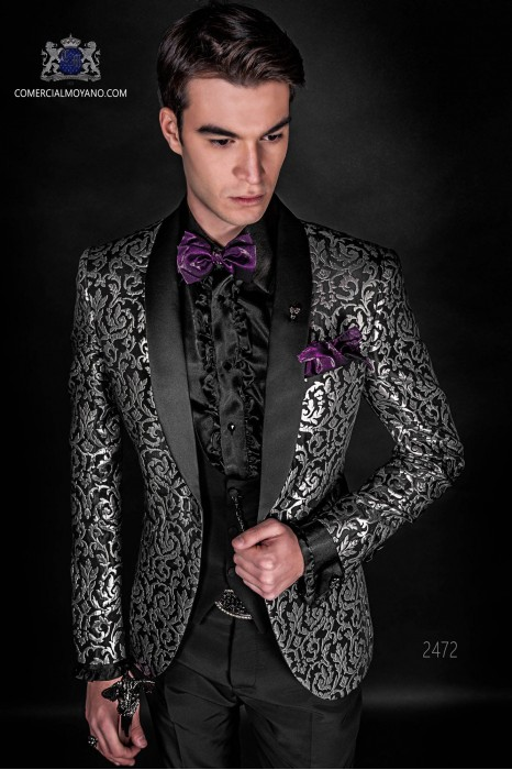 Korean fashion gothic jacket brocade black and silver.