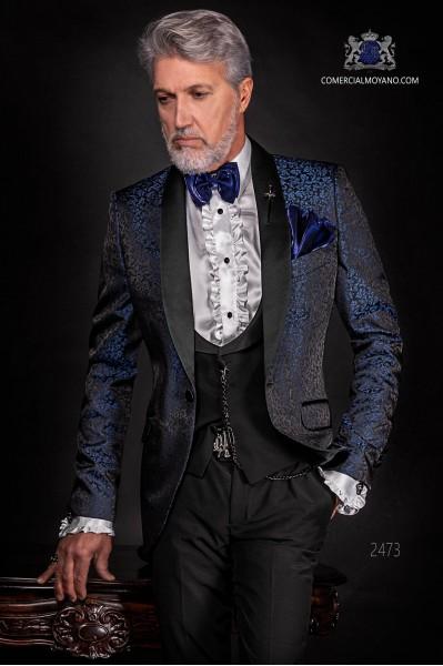 Esmoquin italiano de jacquard combinado azul y negro en mixto seda.