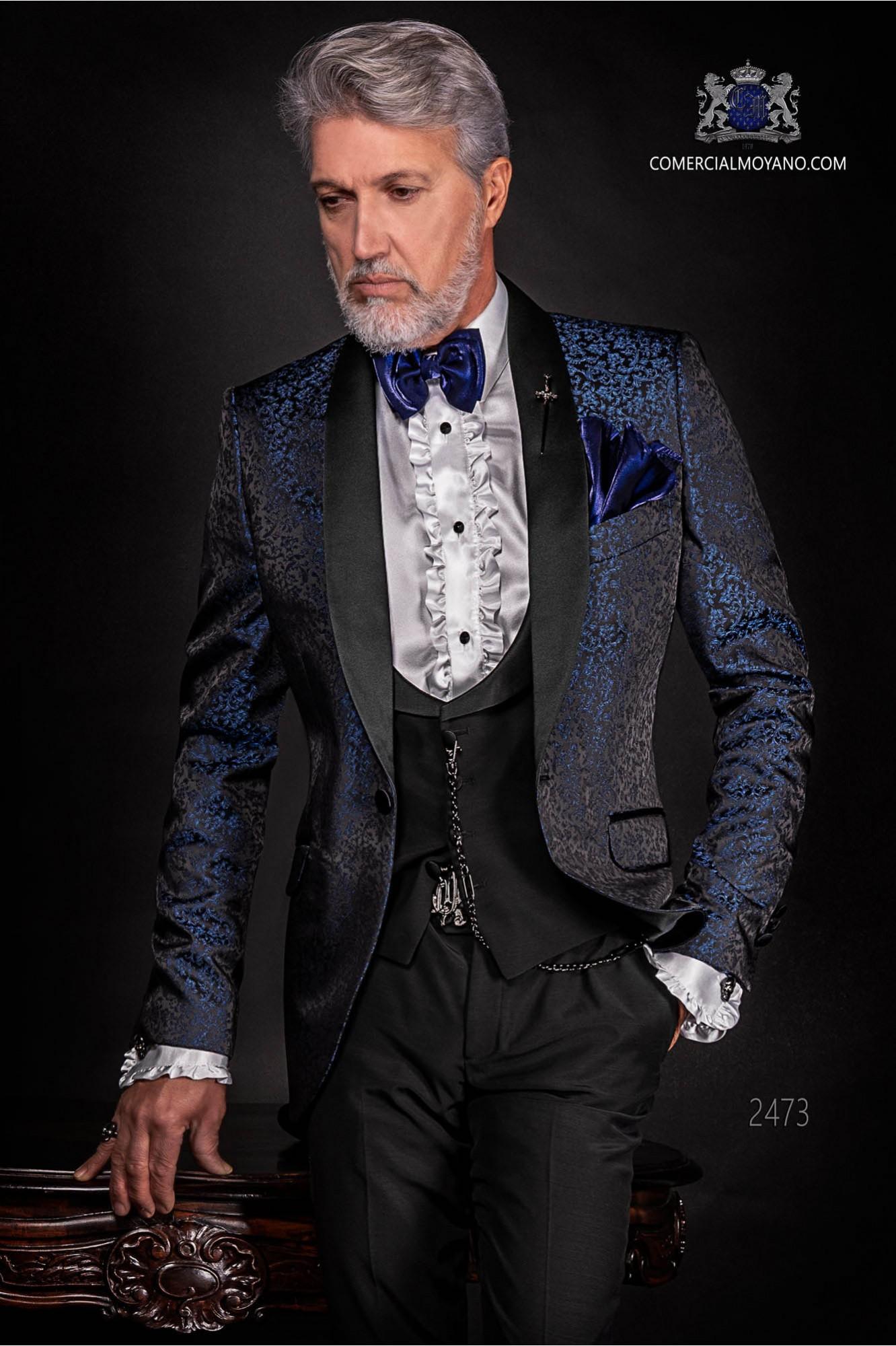 Esmoquin italiano de jacquard combinado azul y negro en mixto seda