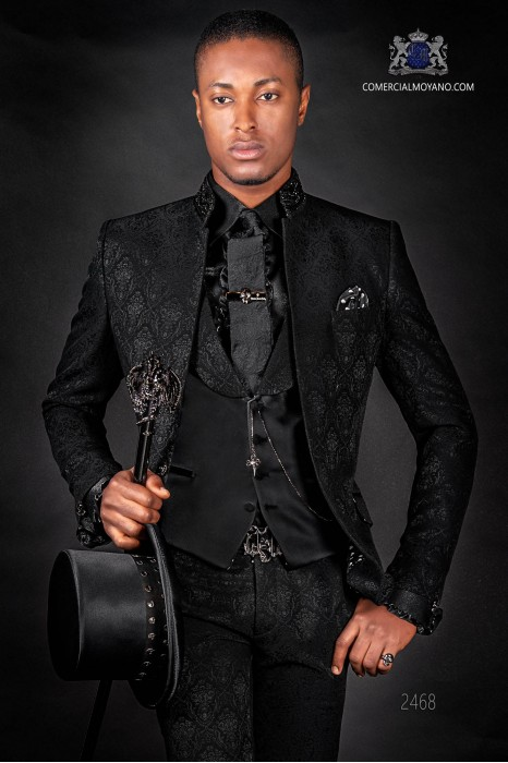 Italian bespoke black jacquard fashion jacket with mao collar