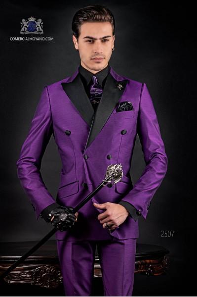 Bespoke Italian double breasted fashion purple suit