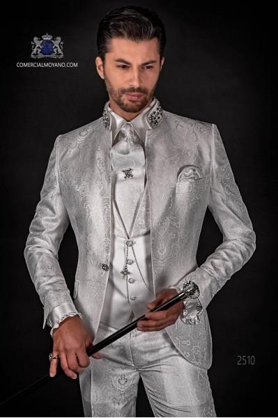 Italian bespoke white jacquard fashion jacket with mao collar