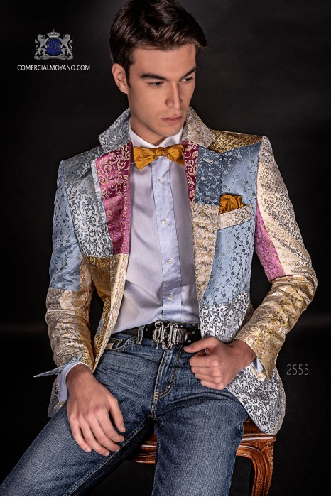 Italian patchwork jacket made of pure jacquard silk pastel colors.