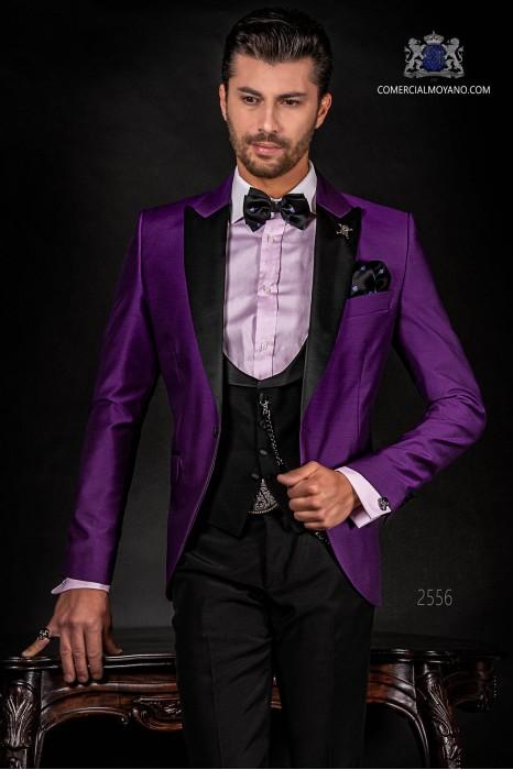 Italian purple tuxedo with satin lapels