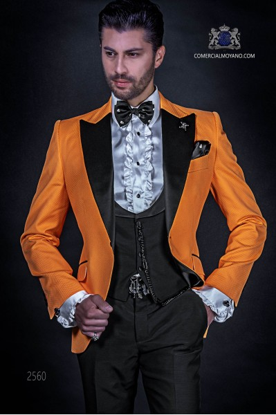 Orange cotton pique fashion suit with black trousers