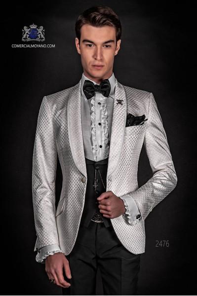 Dinner Jacket blanc check avec châle revers et pantalons noir