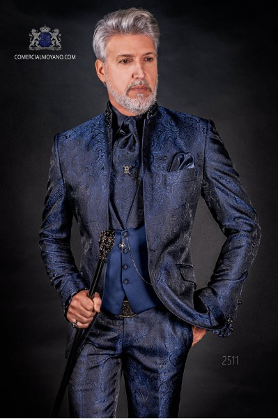 Italian bespoke blue jacquard fashion jacket with mao collar
