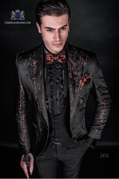 Traje de moda italiano a medida gótico de jacquard marrón