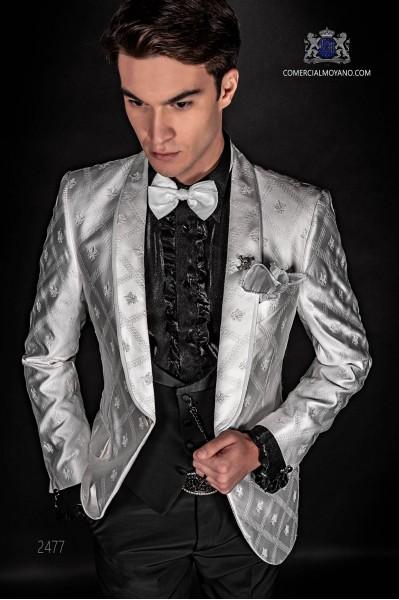 Dinner Jacket en jacquard blanc et noir avec pantalons noir de laine