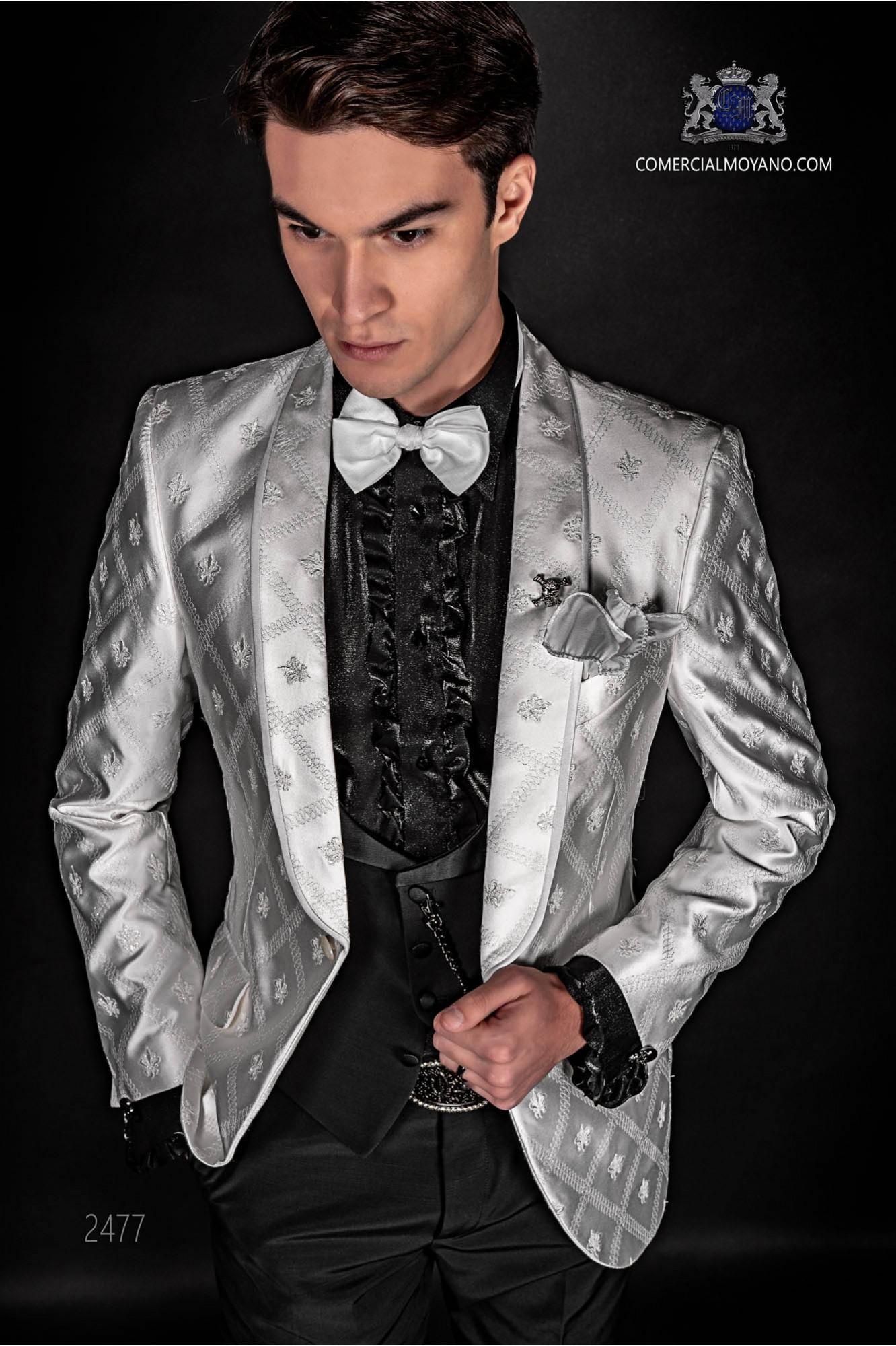 Traje de moda italiano de jacquard combinado blanco y negro