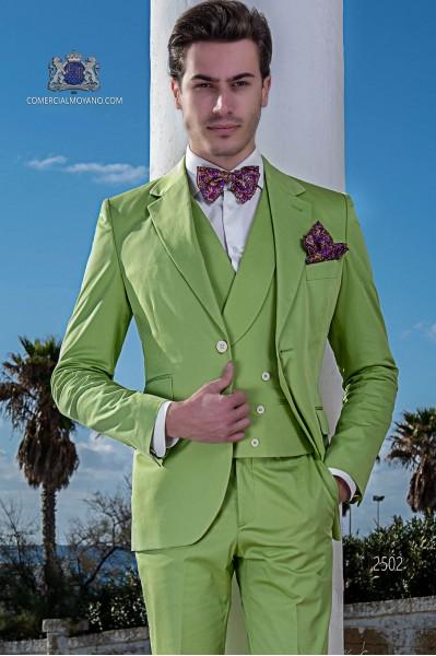 "Suit modern Italian style ""Slim"". Green woven 100% cotton"