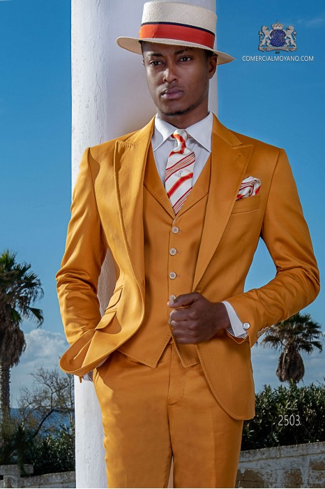 Italian stitched bespoke pure cotton yellow suit