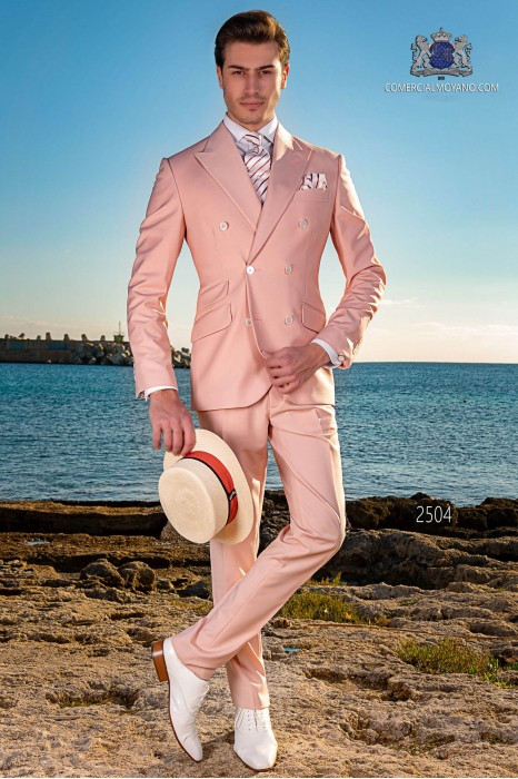 Italian bespoke light pink new performance double breasted suit