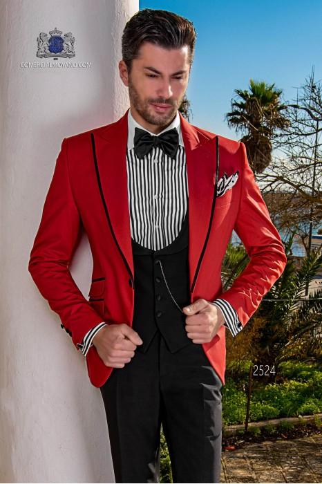 Red cotton fashion men suit
