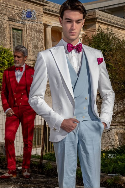Italian bespoke wedding suit pure cotton white microdesign fabric