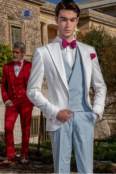 Costume de mariage italienne blanc de pur coton tissu microdesign