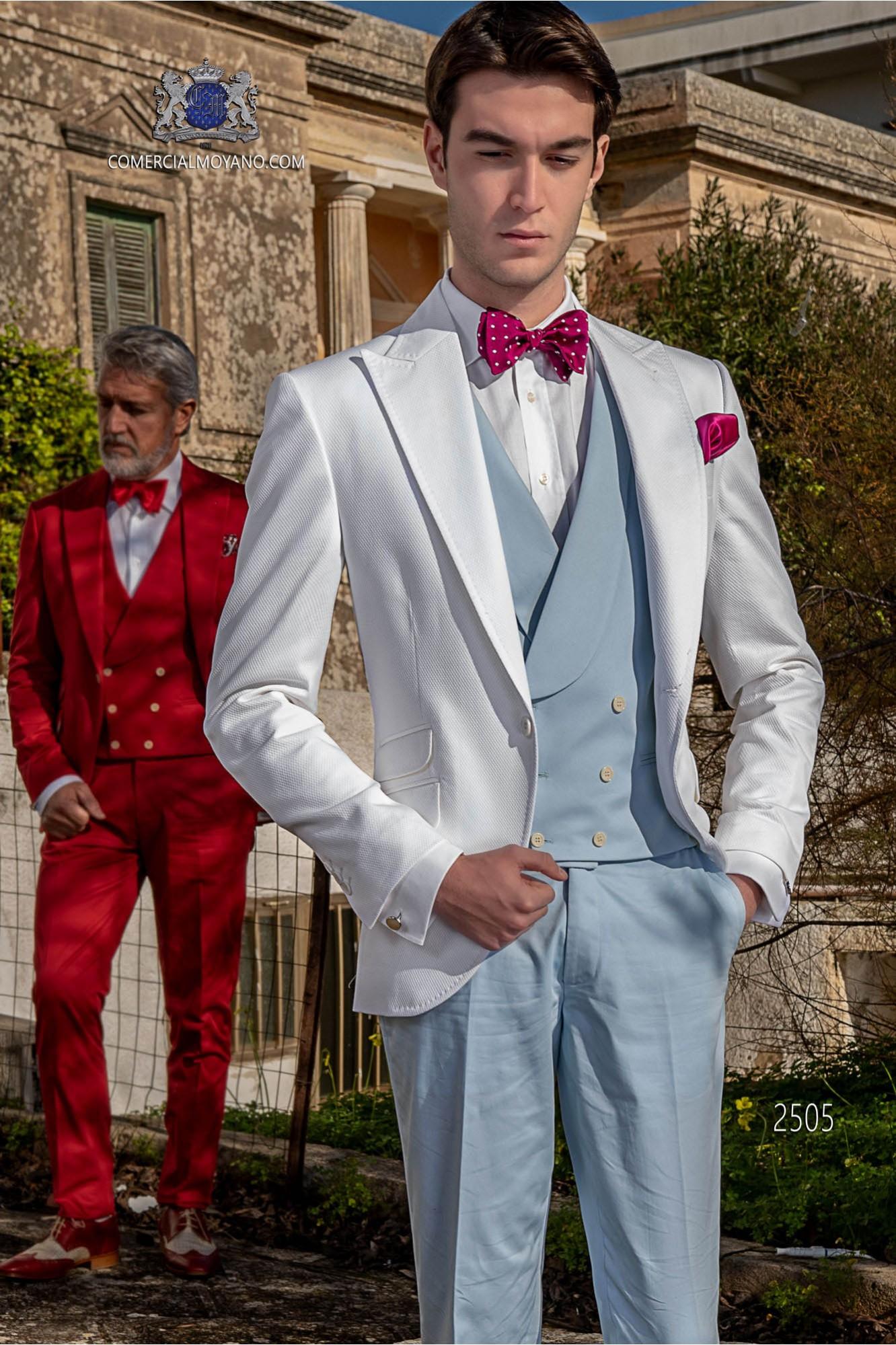 Traje de novio italiano a medida blanco de algodón tejido microdiseño