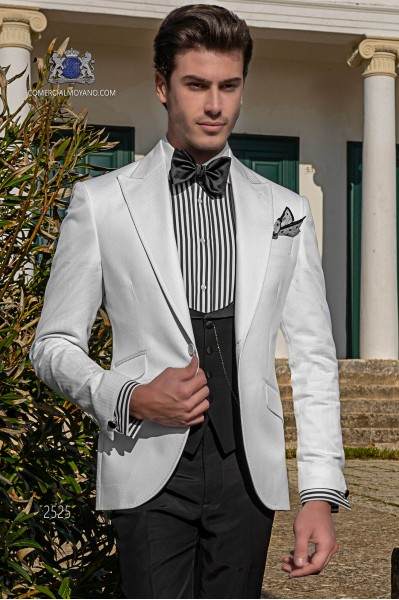 Italian bespoke wedding suit pure cotton white microdesign fabric