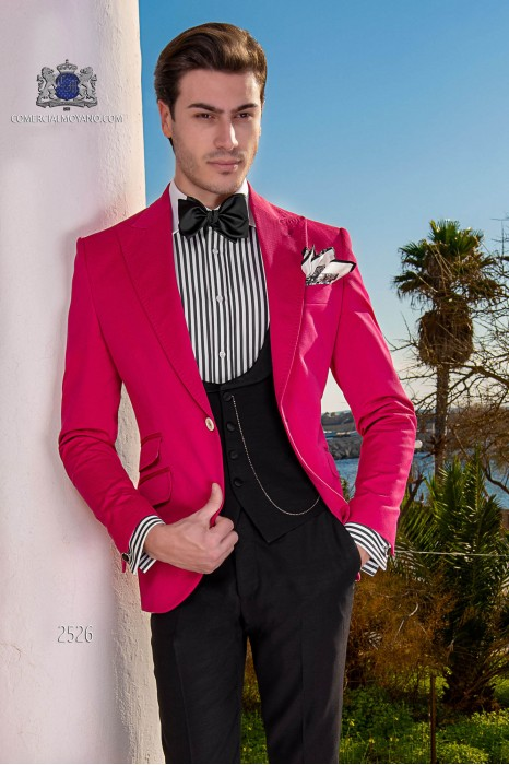 Italian bespoke wedding suit pure cotton fuchsia microdesign fabric