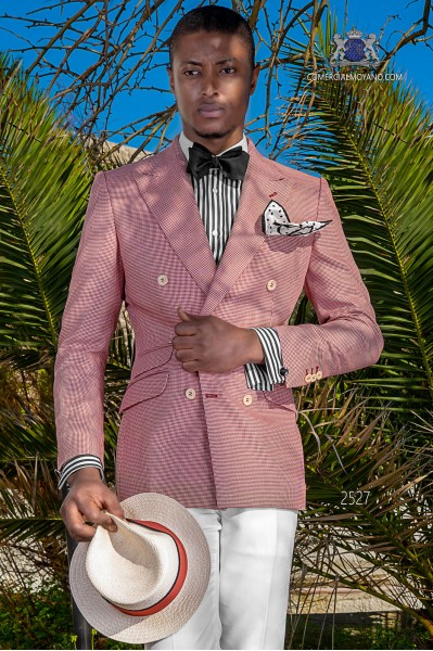 Italian bespoke red Houndstooth double breasted suit
