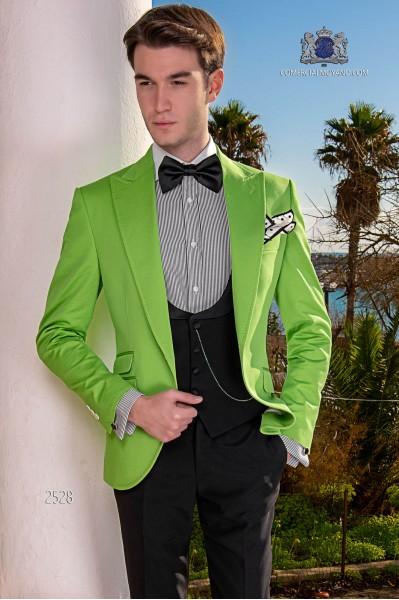 Traje de novio italiano a medida verde de algodón tejido microdiseño