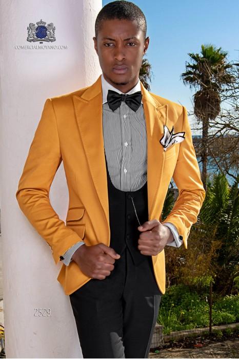 Italian bespoke wedding suit pure cotton orange