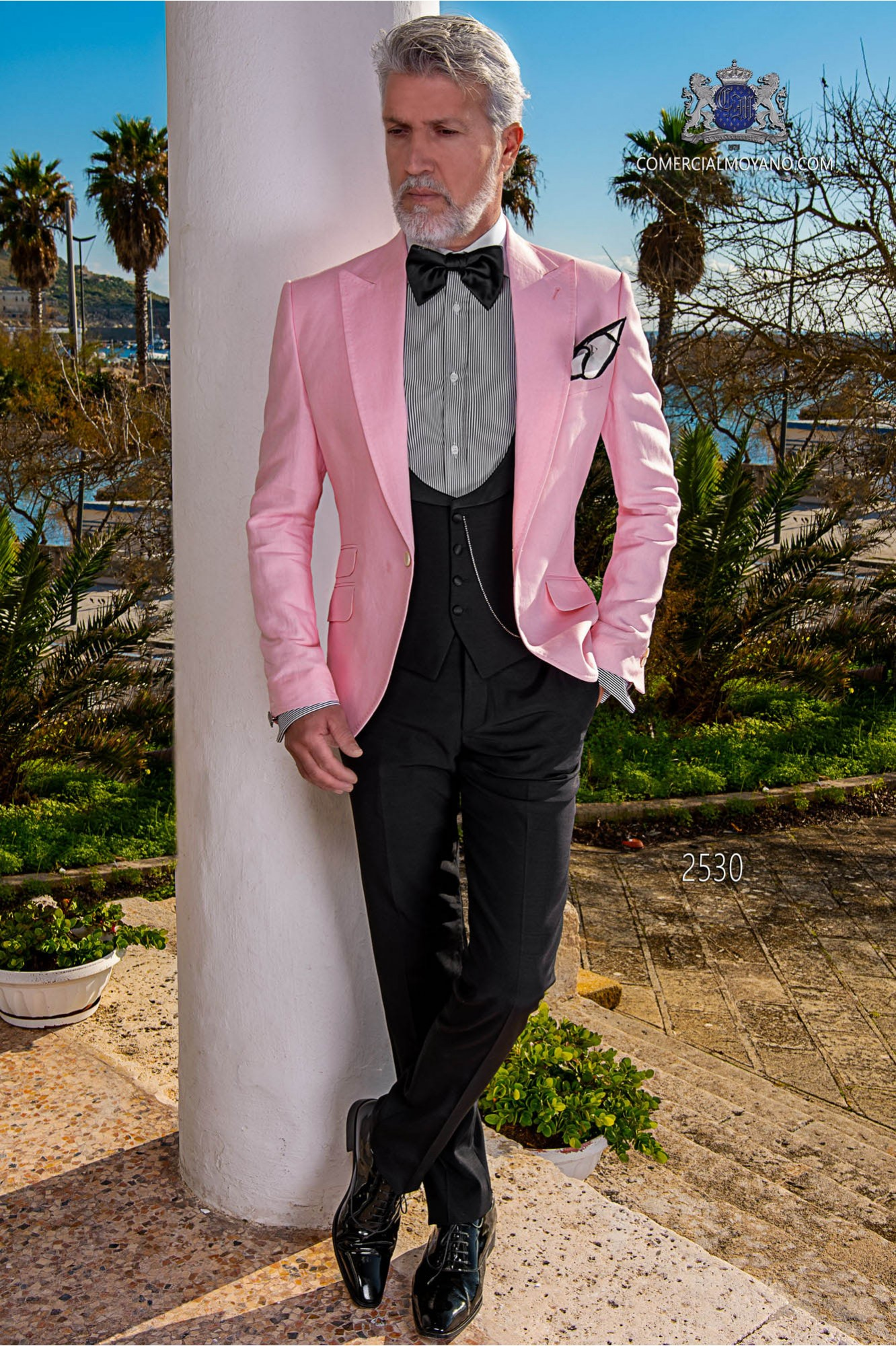 Italian bespoke wedding pink pure linen suit