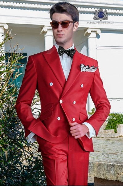 Italian bespoke red new performance double breasted suit