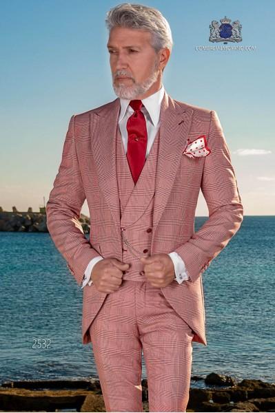 Italienischer Bräutigam Anzug mit Schmal geschnittener rot