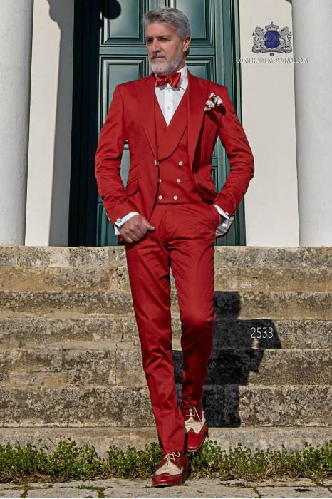 Costume de mariage italien rouge de pur coton