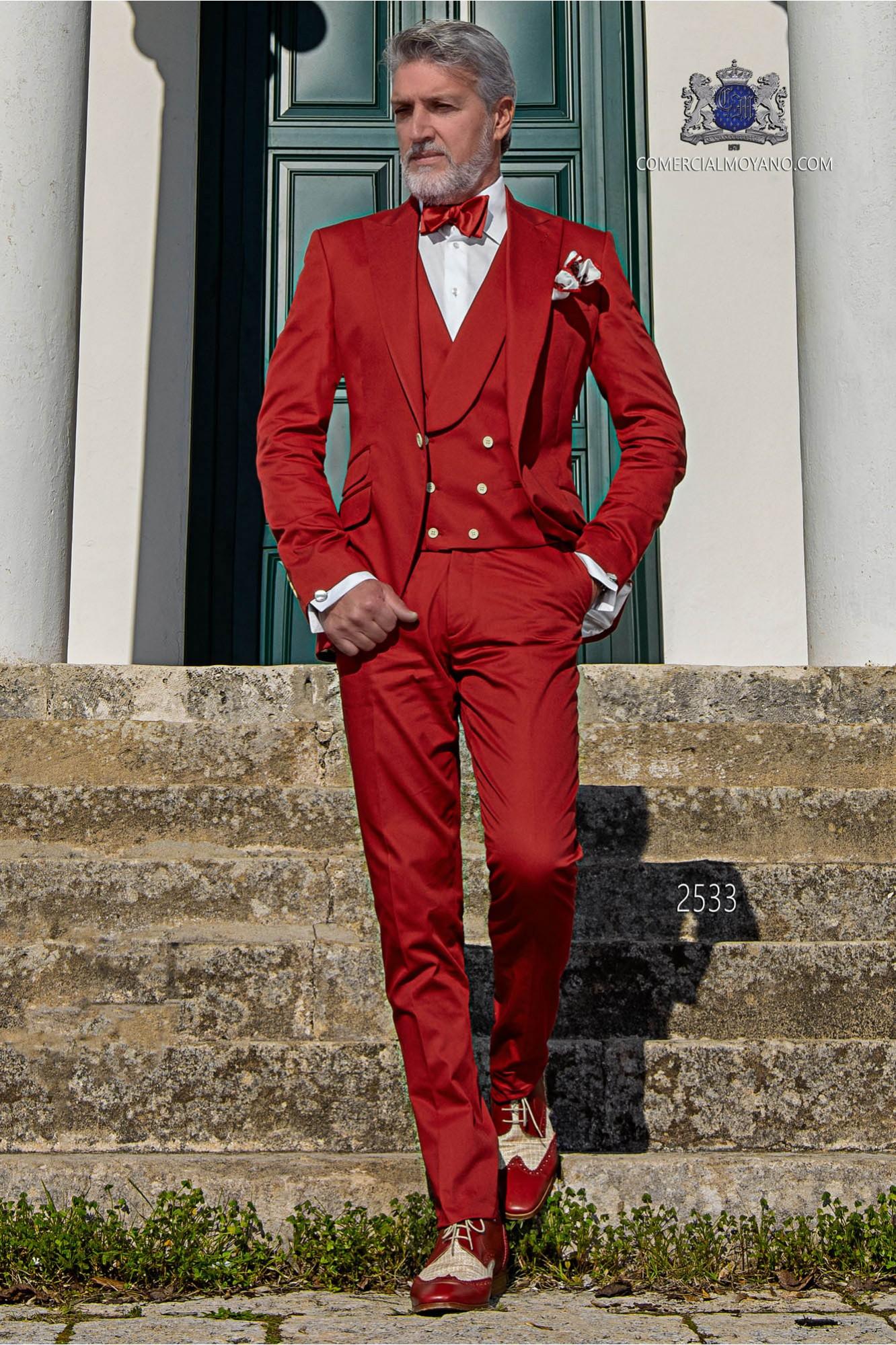Traje de novio italiano moderno rojo del algodón