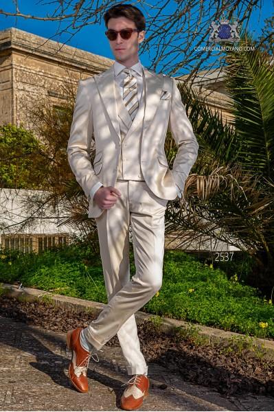 Costume italienne beige de pur coton