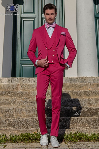 Italian fuchsia pure cotton piqué wedding suit