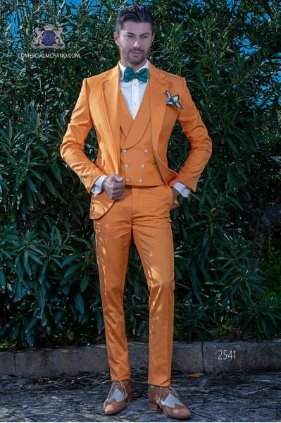Traje de novio naranja tejido microdiseño de algodón