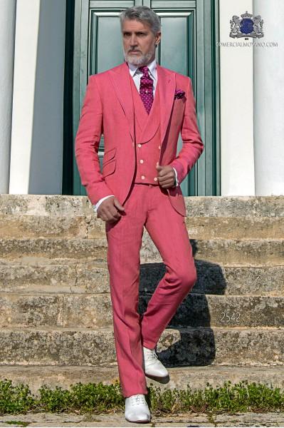 Traje de novio a medida rosa de lino