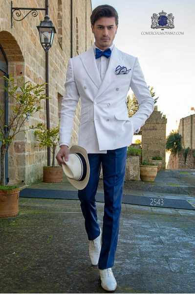 Italian stitched bespoke white pure linen suit