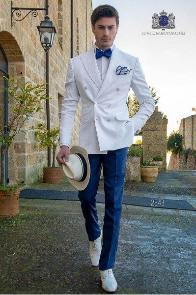 Traje italiano cruzado a medida blanco de lino