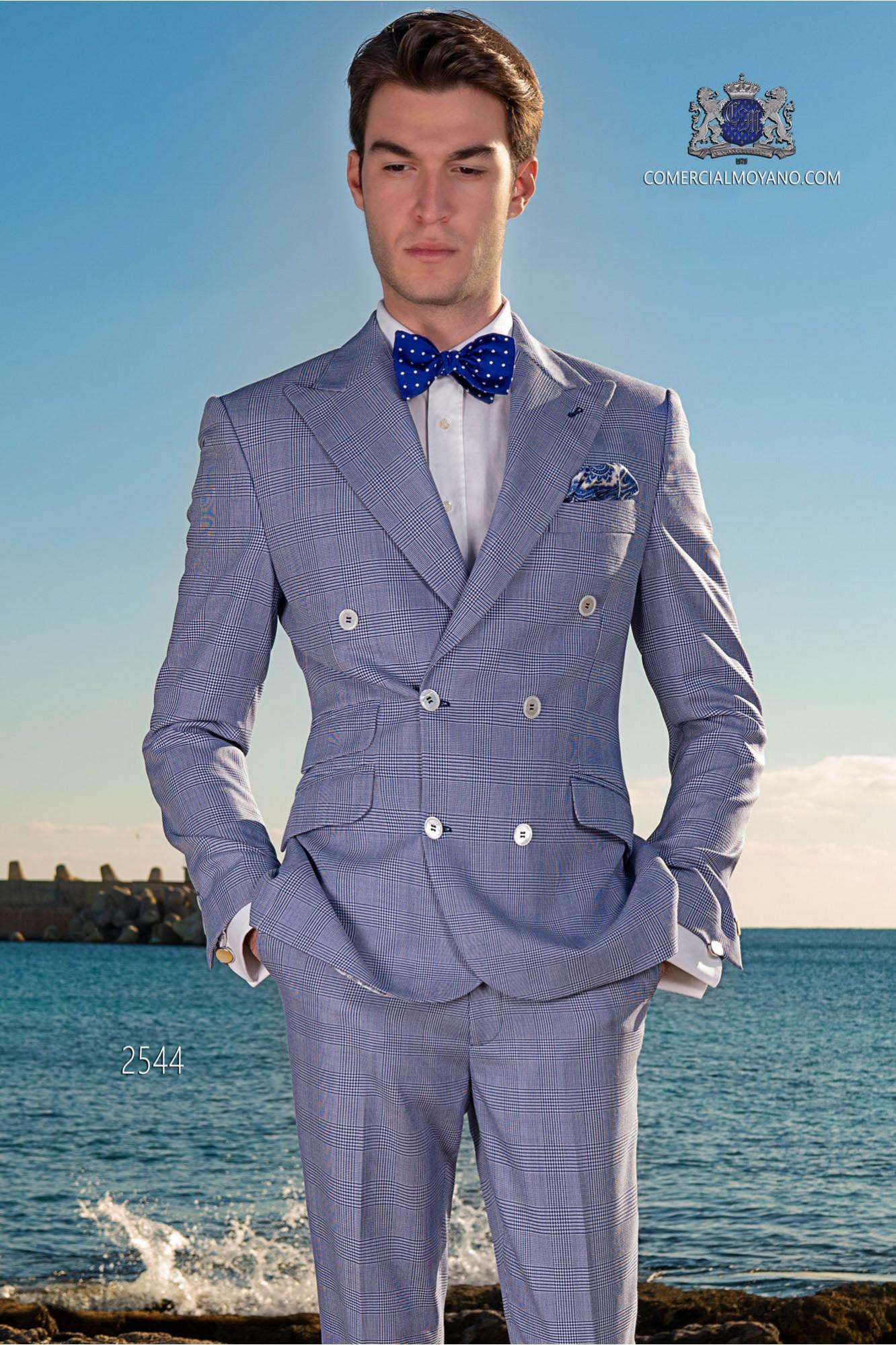 Königsblau Zweireihige Herren Anzug ''Prince of Wales''