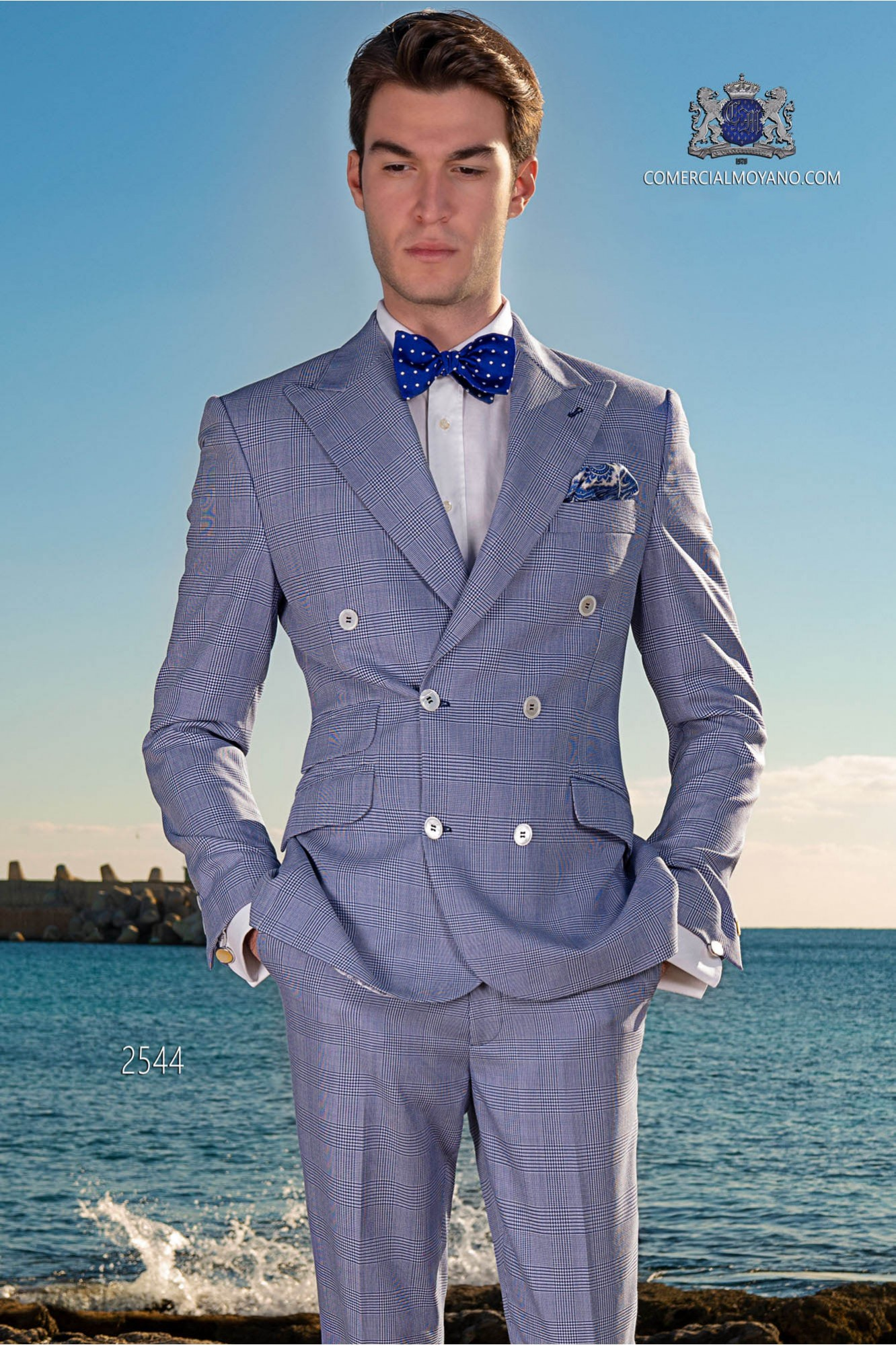 Italian bespoke blue royal Prince of wales double breasted suit