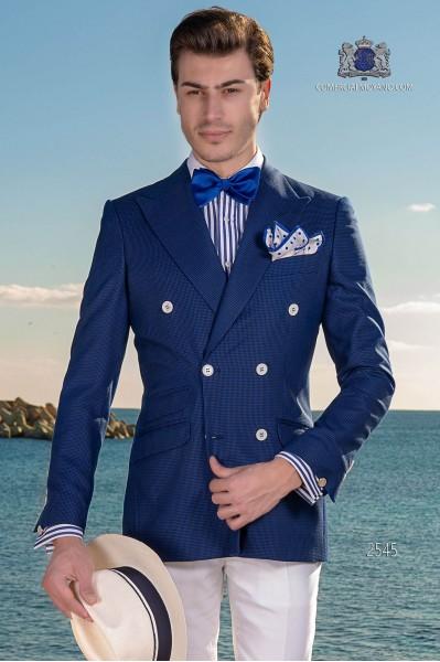 Blau Hahnentritt Zweireihige Herren Anzug
