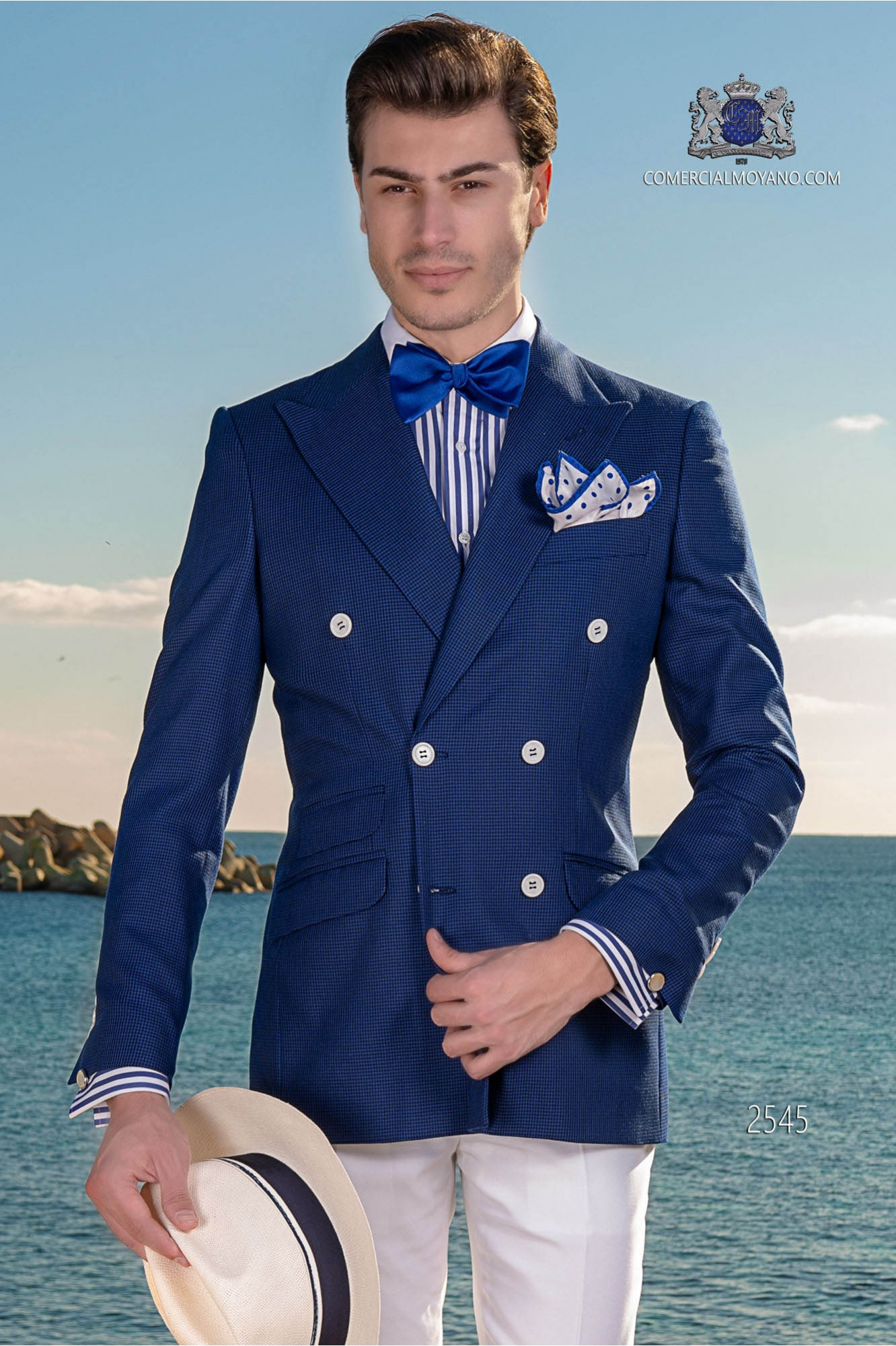 Italian bespoke houndstooth blue double breasted suit