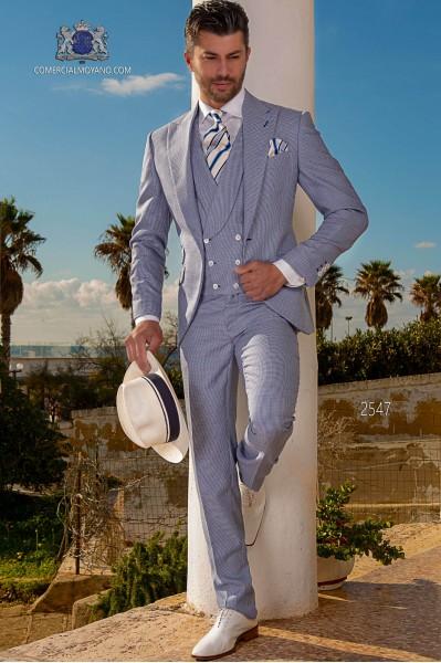 Blau Hahnentrittmuster Hochzeitsanzug