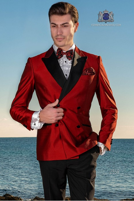 Tuxedo double breasted red shantung with satin lapels. Shantung silk mix fabric.