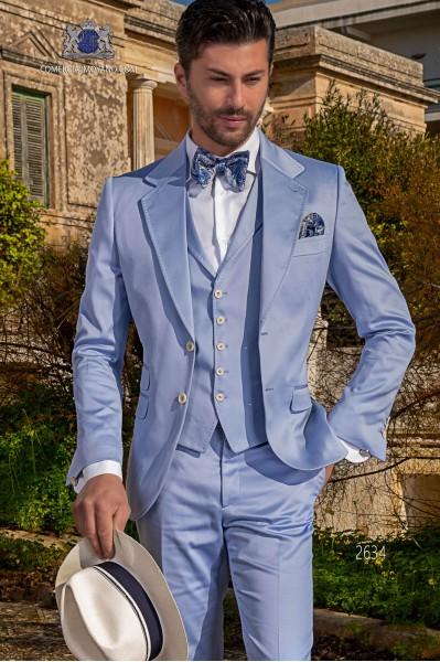 Italian stitched bespoke pure cotton light blue suit